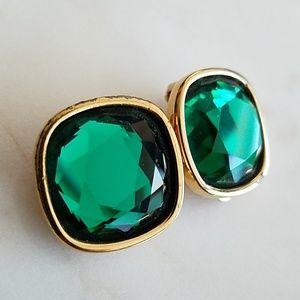 Vintage Swarovski Square Emerald Green Clip Earrin